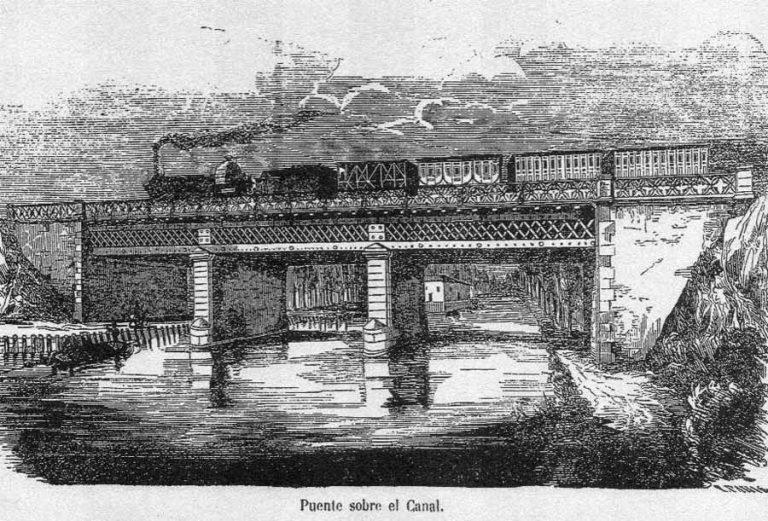 Grabado del tren Madrid - Aranjuez pasando por el puente del Canal.