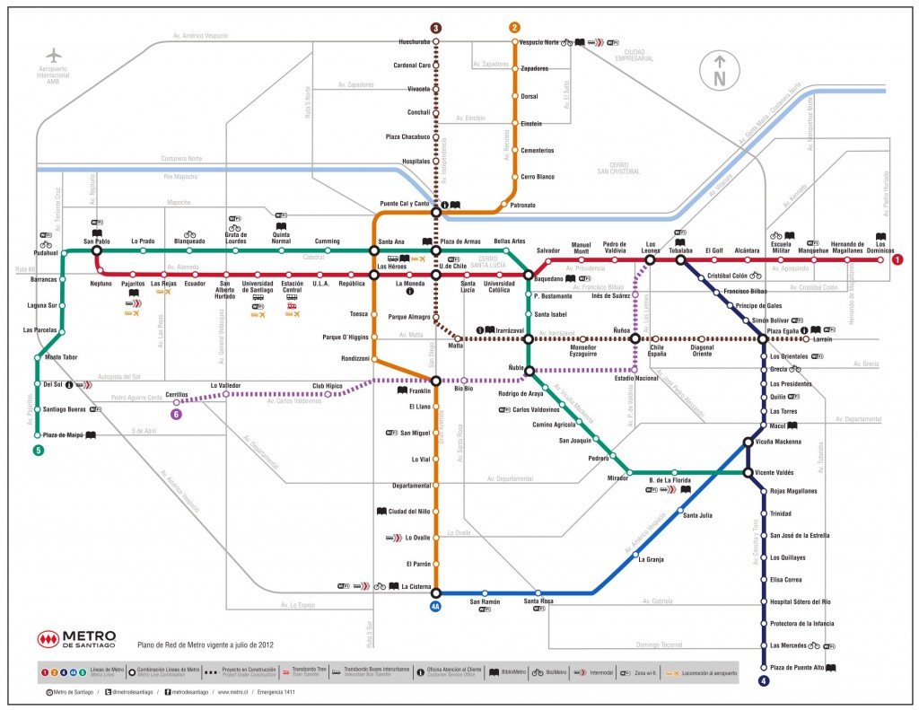 Plano del metro de Santiago con las nuevas líneas 3 y 6. Imagen: Metro de Santiago.