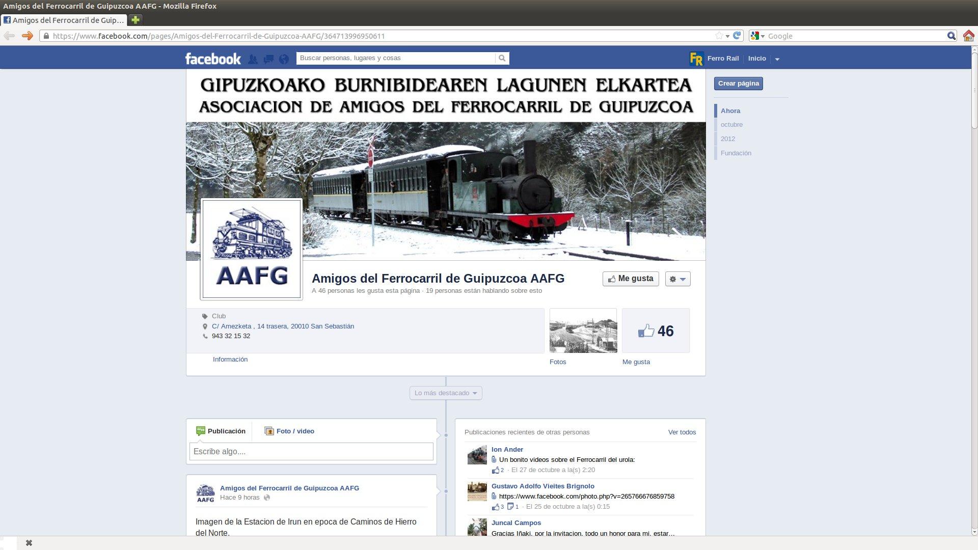 Captura de pantalla de la página de los Amigos del Ferrocarril de Guipúzcoa.