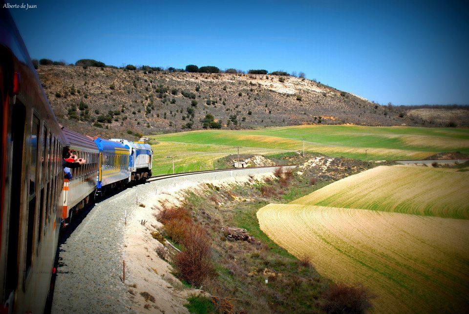 Imagen del tren a Soria con coches convencionales de los 80 organizado por la AAFM. Foto: Alberto de Juan.
