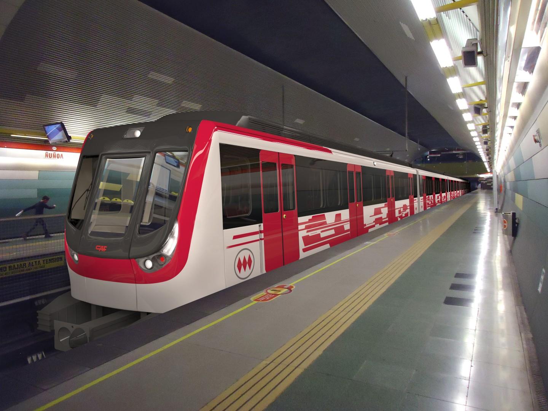 Diseño de los nuevos trenes del metro de Santiago fabricados por CAF. Foto © cortesía de CAF