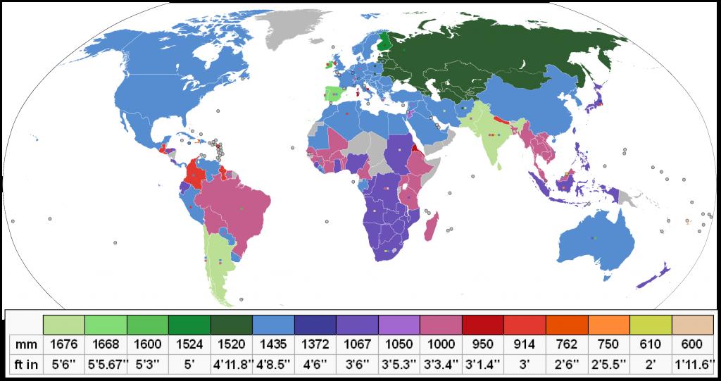 Mapa mundi en el que se puede ver el ancho de vía que emplea cada país. Imagen realizada por DePiep.