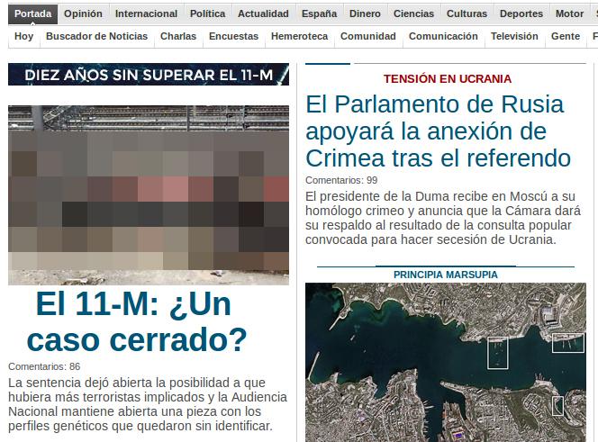 Portada de la web publico.es mostrando una de las imágenes más desagradables del 11-M.