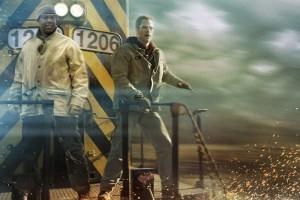 Denzel Washington y Chris Pine subidos en la SD 40-2 número 1206 del ficticio AWR. Fuente: MovieNews.me