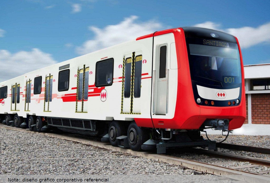Representación computorizada de cómo serán los NS-74 reformados. Imagen cortesía de Metro de Santiago.