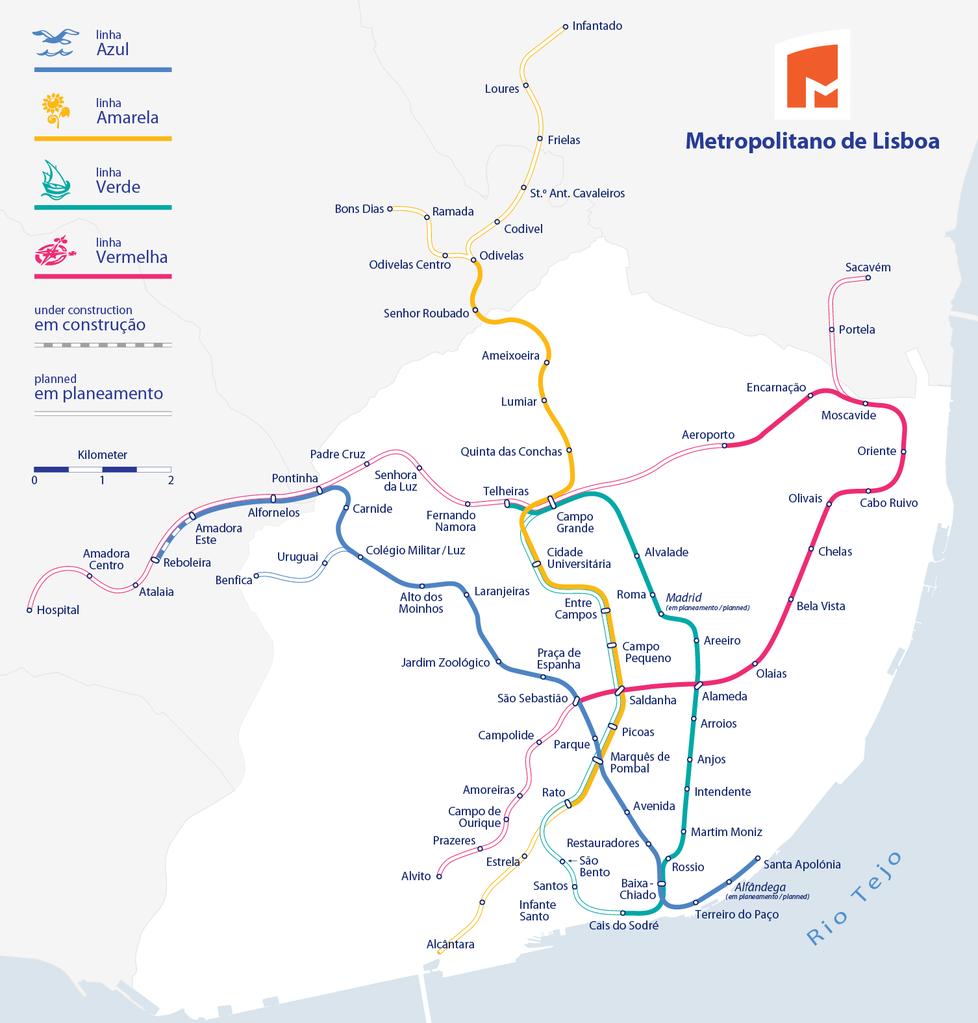 Plano del metro de Lisboa elaborado por Maximilian Dörrbecker.