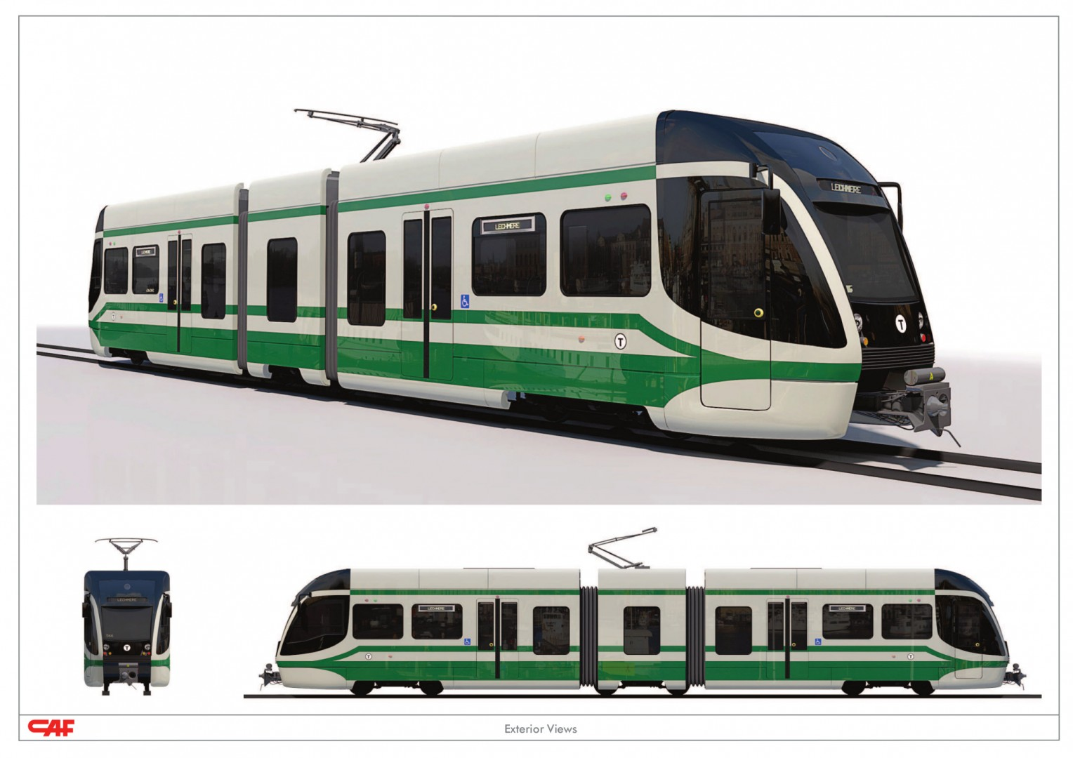 Diseño tridimensional del nuevo Tipo 9 de CAF USA para la línea verde del metro de Boston.