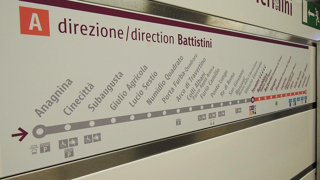 Termómetro de la línea A del metro de Roma. Foto: David McKelvey.