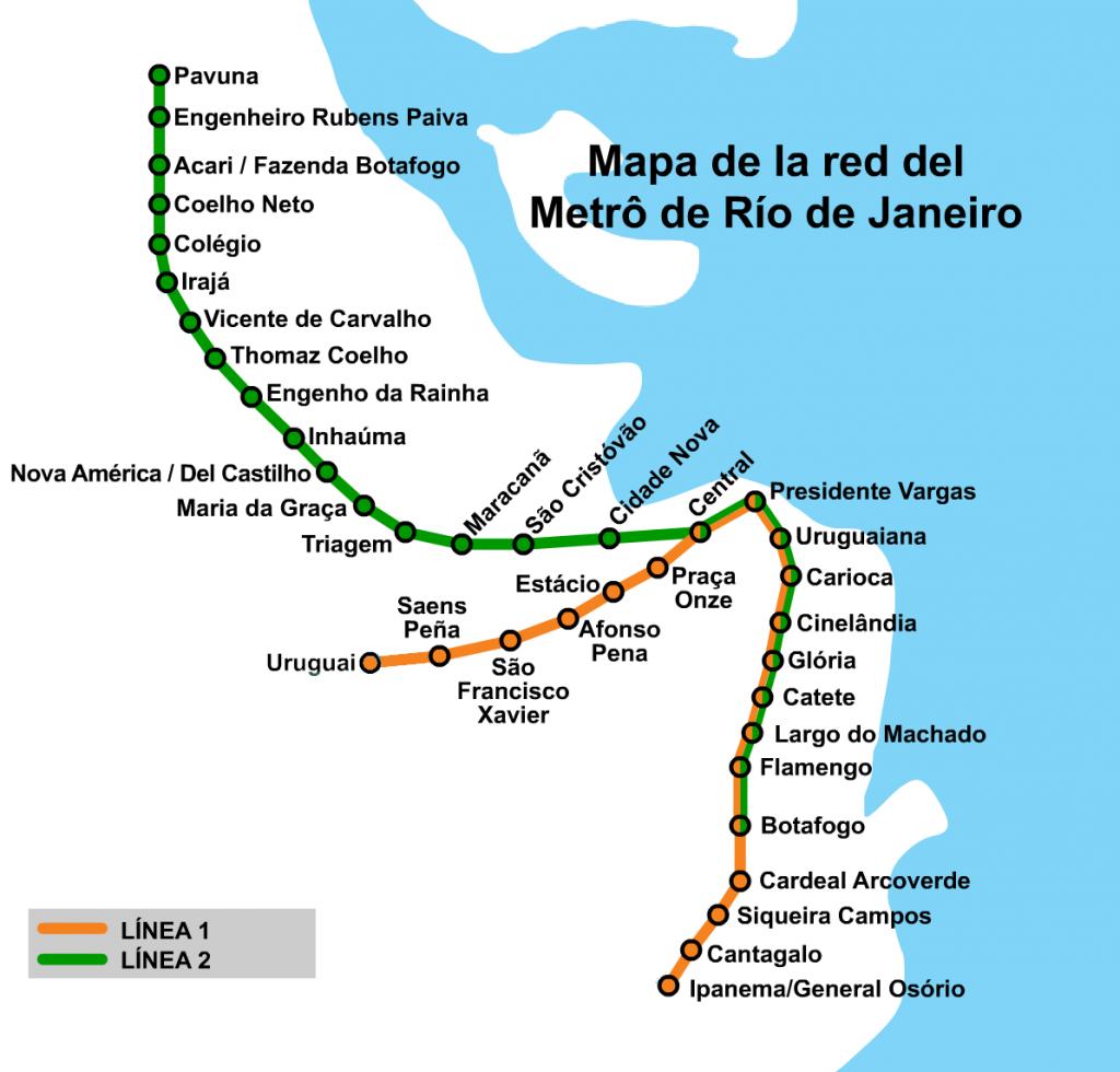 Plano del metro de Río de Janeiro basado en el publicado por Hmaglione10