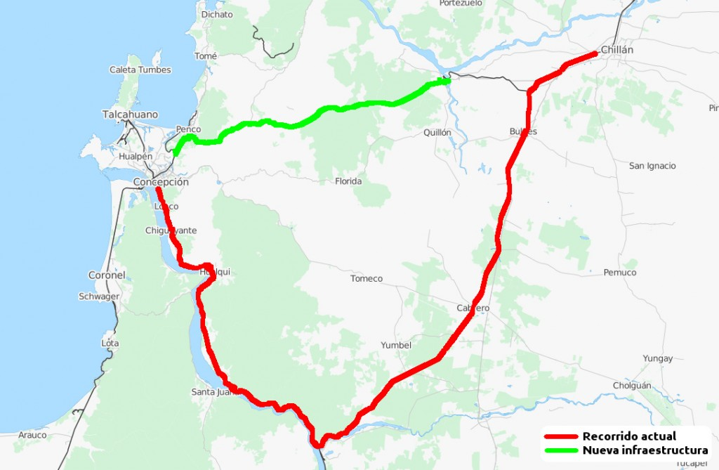 Mapa basado en Open Street Maps en el que se muestra el trazado actual en rojo y la nueva vía en verde.