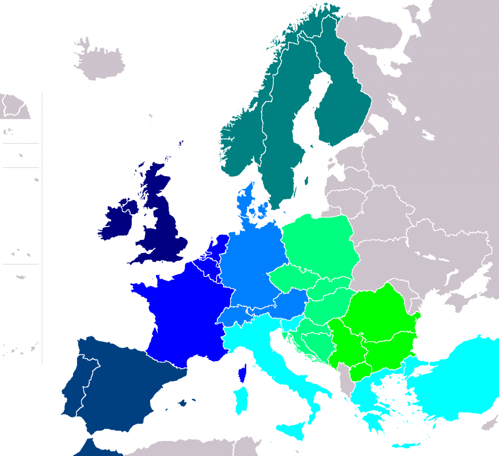 Mapa con los países europeos en los que se puede usar el pase InterRail. Imagen: Wiskandar.