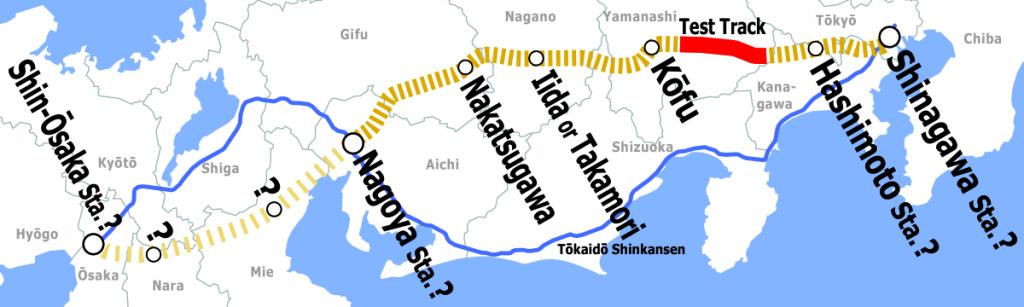 Mapa del Chuo Shinkansen, con su extensión a Osaka. Imagen elaborada por Hisagi.
