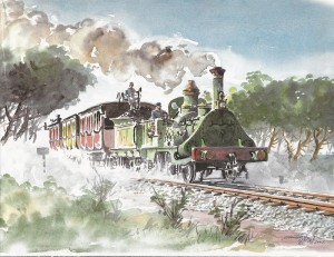 Pintura del Tren del centenario, réplica del que inauguró el ferrocarril Barcelona-Mataró