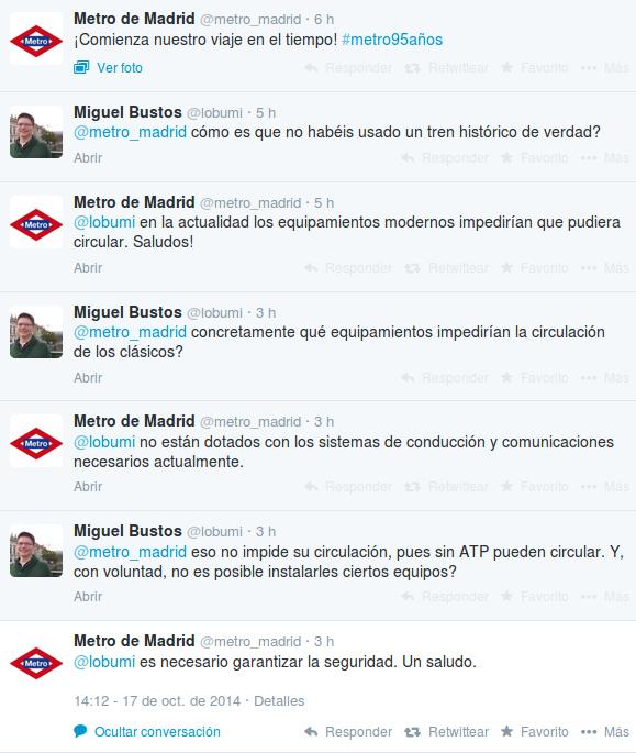 Justificación oficial de Metro de Madrid en Twitter para no usar un auténtico tren histórico
