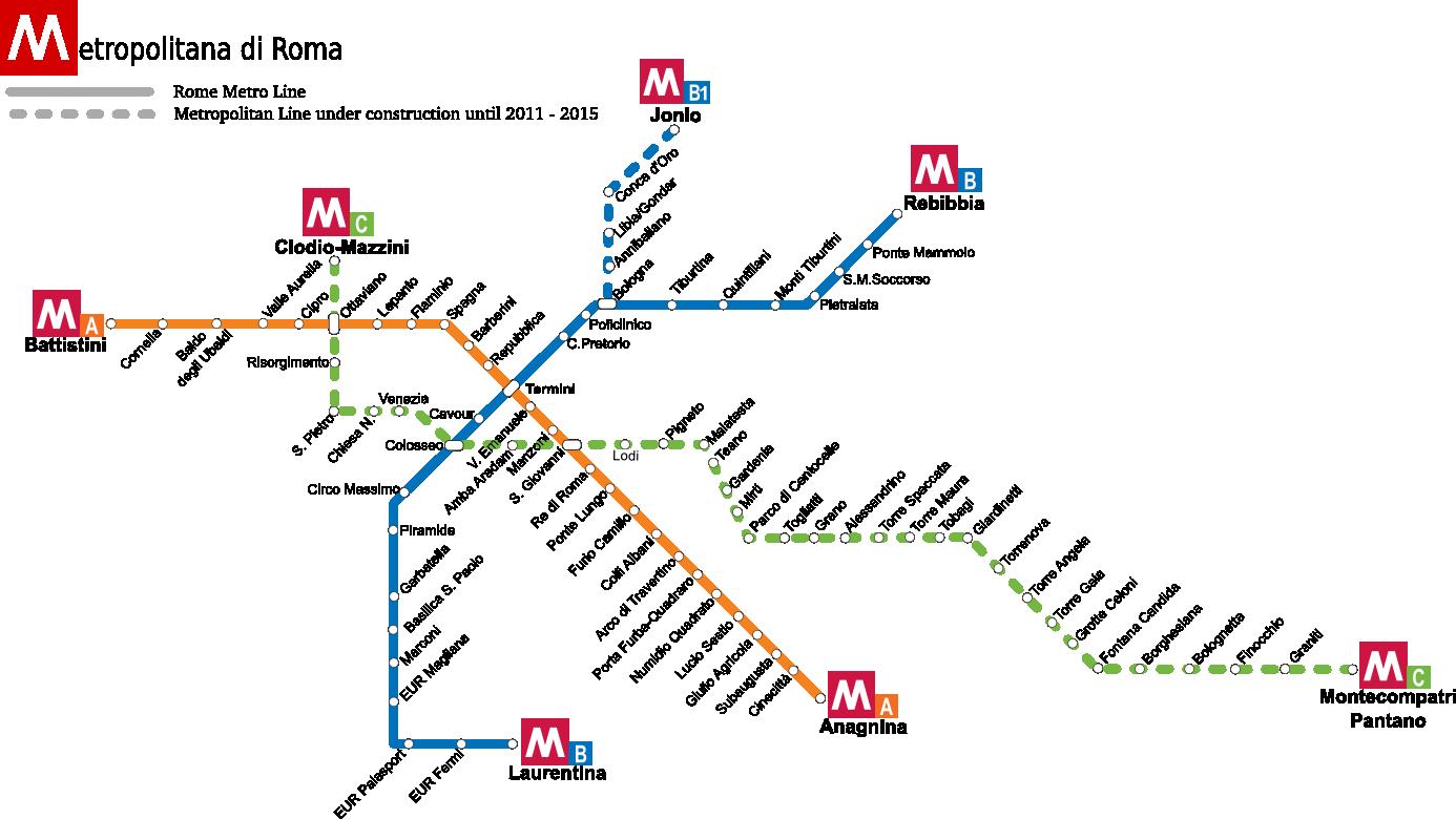 Nuevo mapa del metro de Roma, que incluye el recorrido de la línea C, aún en construcción.