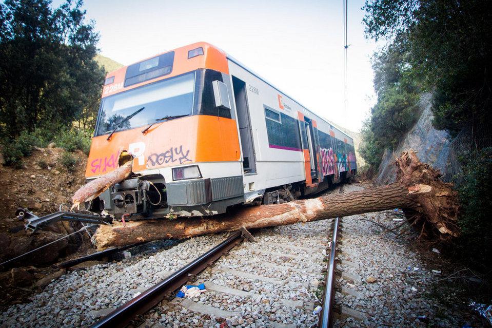 Estado del tren descarrilado por la caída del árbol. Se especula con que el maquinista podría perder algún miembro.