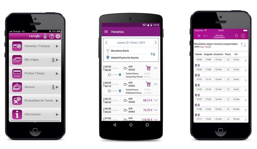 La aplicación Renfe Ticket mejora y se complementa con otras de la operadora. Foto: Renfe.