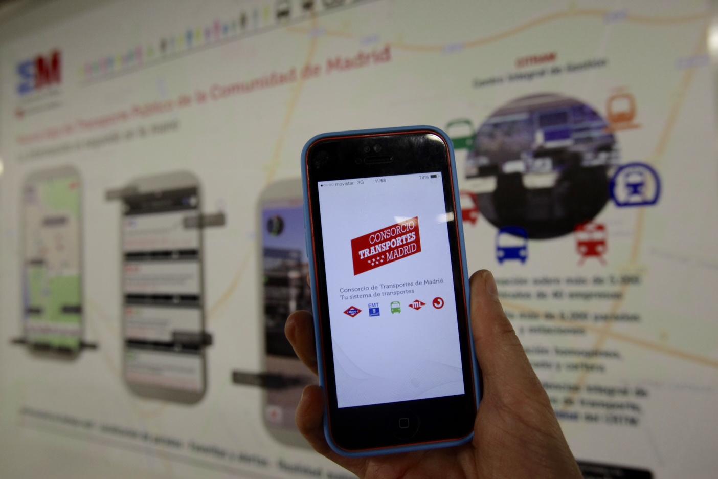 La aplicación móvil mi transporte aúna la información de todas las operadoras de transporte público de la Comunidad de Madrid. Foto: Metro de Madrid.