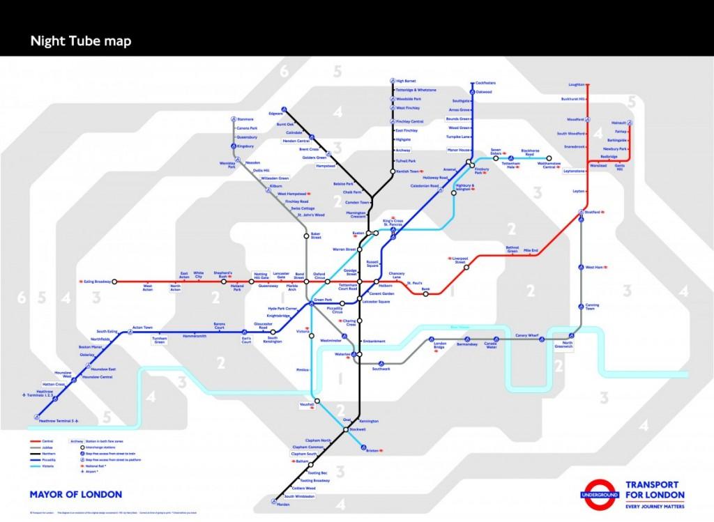 Mapa oficial del Night Tube londinense. Foto: Business Insider.