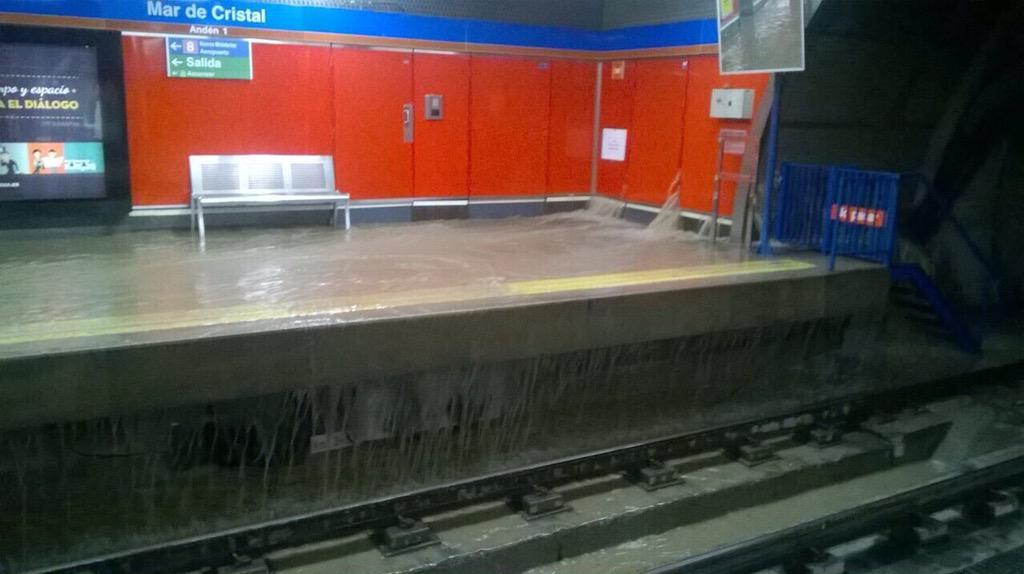 Imagen de la estación Mar de Cristal de Metro de Madrid esta mañana. Foto: @satunatu.