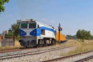 Exterior del tren que realizará el viaje a Canfranc, estacionado en Lerma. Foto: Gonzalo Vázquez Hidalgo.
