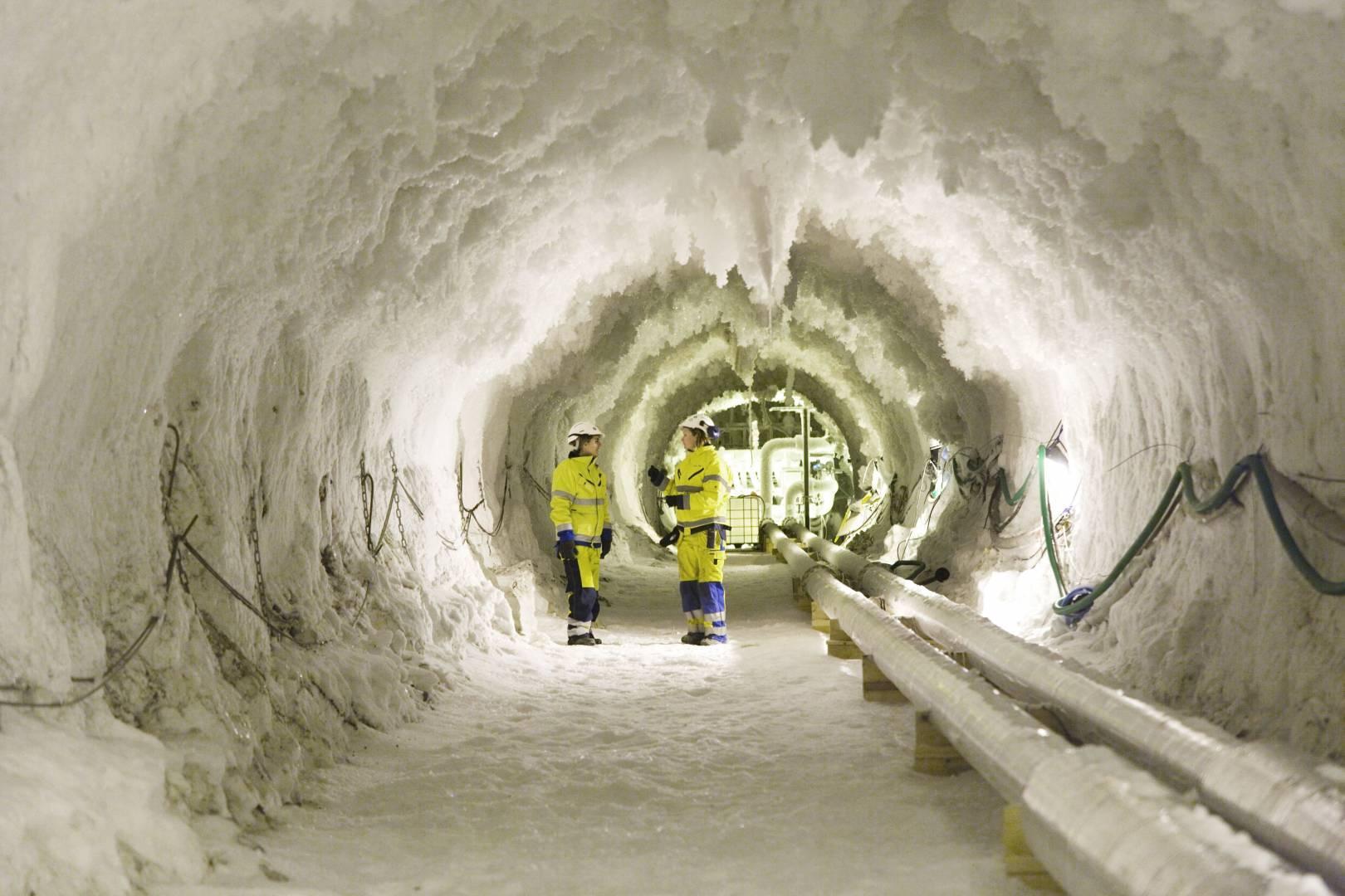 Interior congelado del Túnel de Hallandsås. Foto: Sapp..