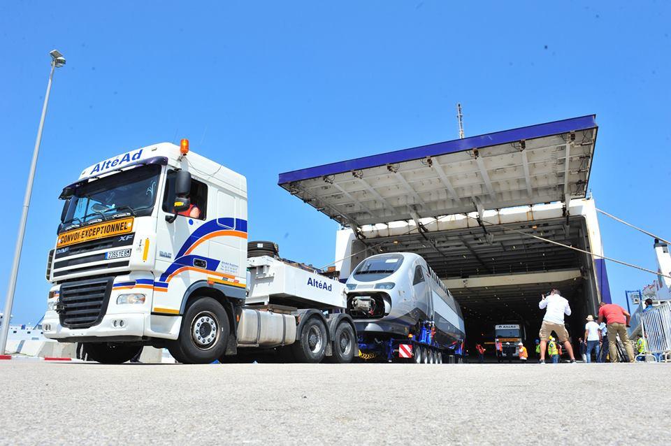 Imagen de la llegada del primer TGV de Marruecos al puerto de Tánger. Foto: ONCF.