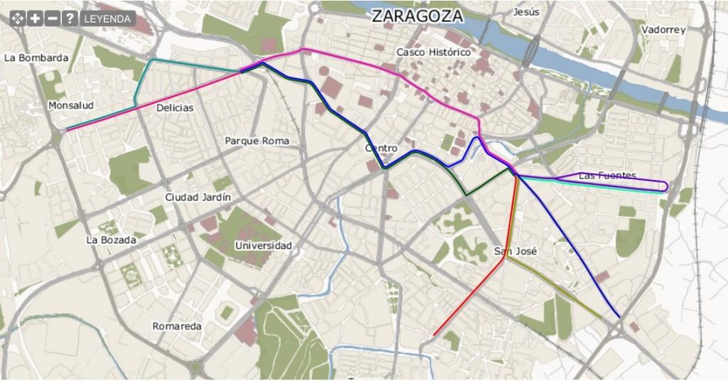 Las diferentes opciones para la línea 2 del tranvía de Zaragoza. Foto: Heraldo.