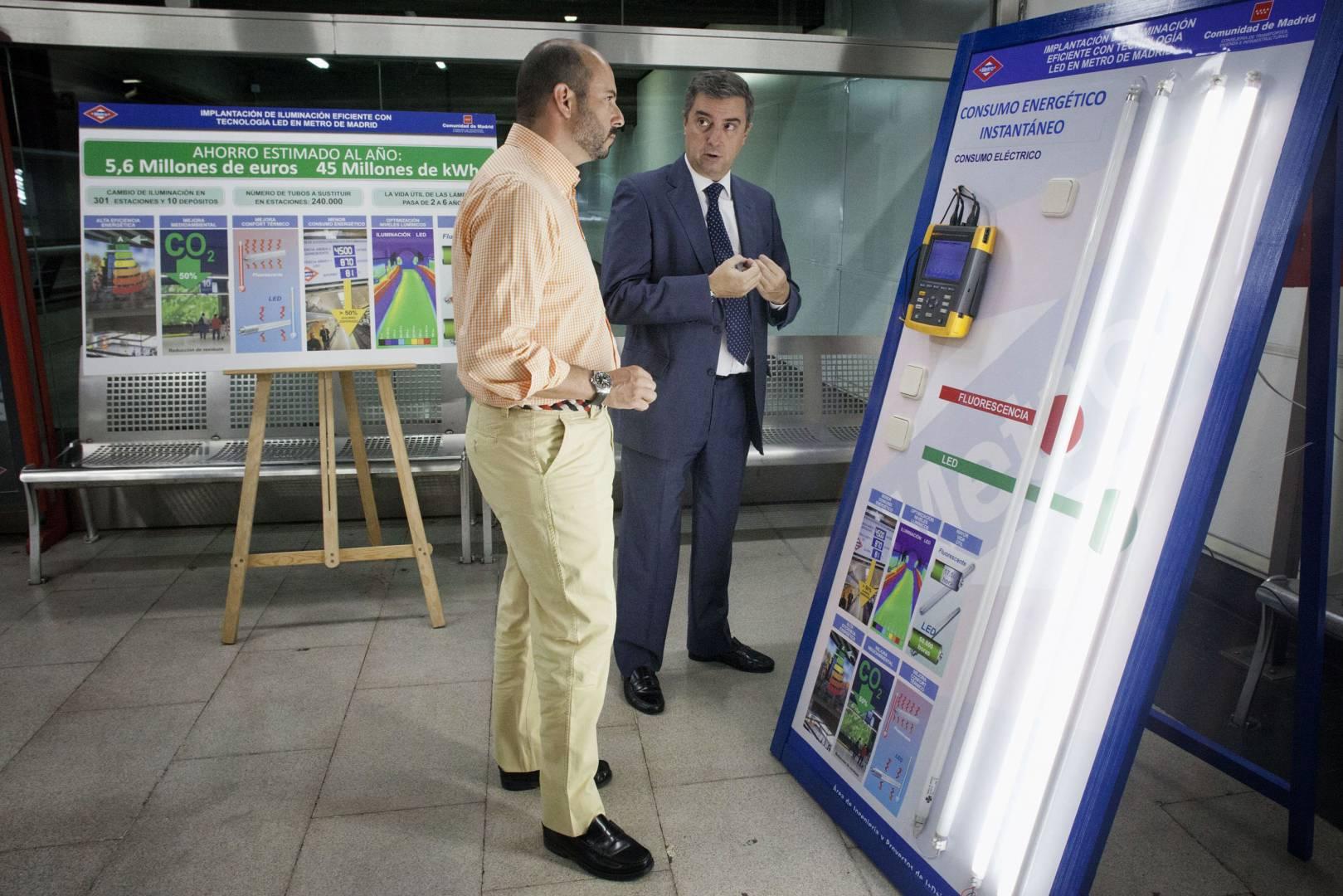 Metro de Madrid conseguirá un gran ahorro energético con el paso al LED. Foto: Metro de Madrid.
