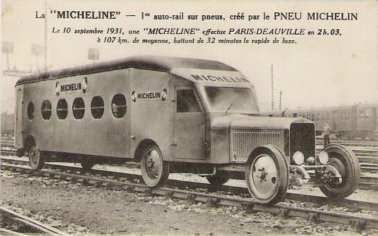 Una de las imágenes del automotor Michelin en Francia. Foto: El correo.