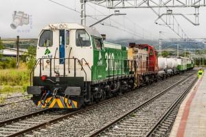 Dos locomotoras de la serie 310 luciendo sendos esquemas de Adif y el antiguo de RENFE en Puigcerdà. Foto: Aleix Cortés.