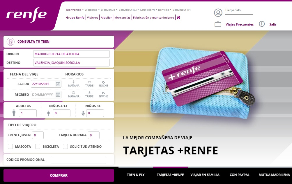 La renovada web de Renfe viene cargada de novedades. Foto: Renfe.