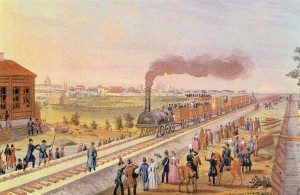 Momento histórico para el ferrocarril en Rusia: la llegada del primer tren a Tsarkoye Seló en 1837. Foto: Nuits blanches a Saint Petersbourg.