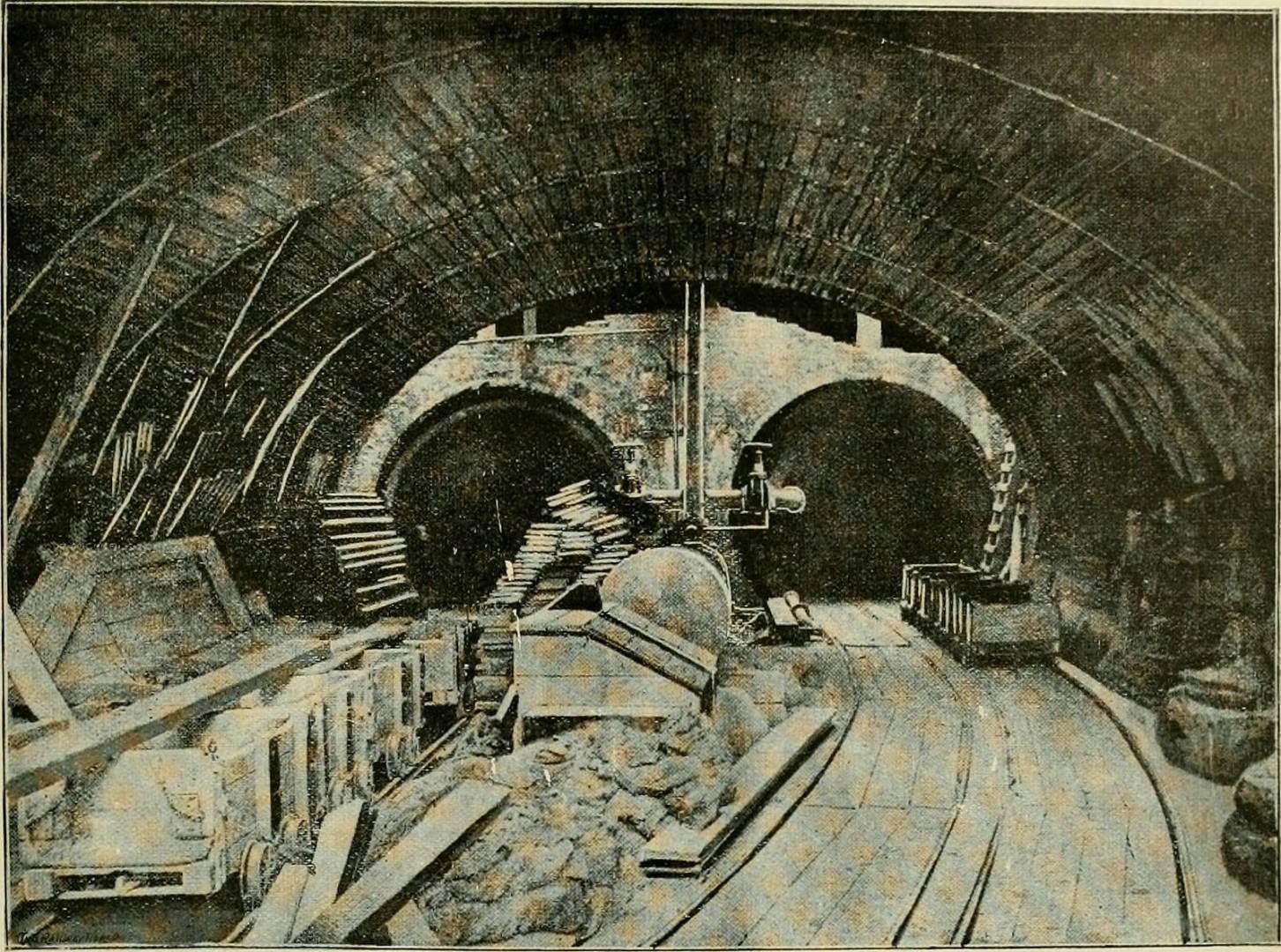 Imagen de la construcción de uno de los metros más antiguos del mundo, el de Glasgow, publicada en The street railway review.