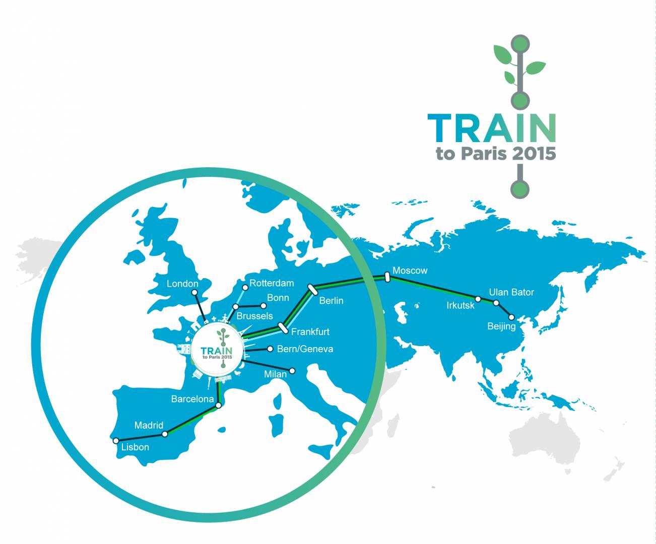 La UIC lanza su campaña Train to Paris para concienciar sobre las ventajas ambientales del uso del ferrocarril. Foto: UIC.
