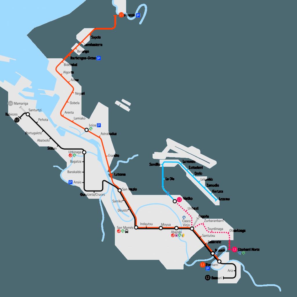 Plano de la red actual de metro con la línea 3 en construcción realizado en base a uno realizado por Laukatu.