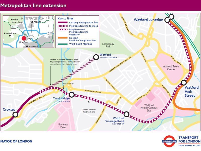 Plano detallado de la extensión de Metropolitan Line. Foto: Transport for London.