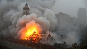 Imagen del incendio que ha consumido la Estación de la luz en São Paulo. Foto: Make me Feed.