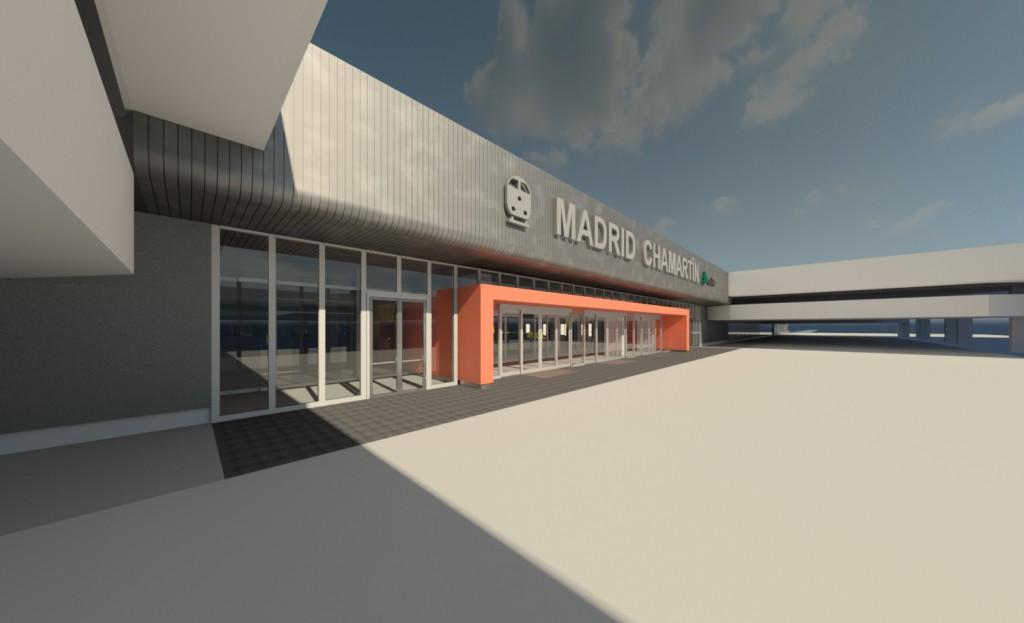 Aspecto que lucirá el nuevo acceso de viajeros a la estación de Madrid-Chamartín. Imagen: Adif.