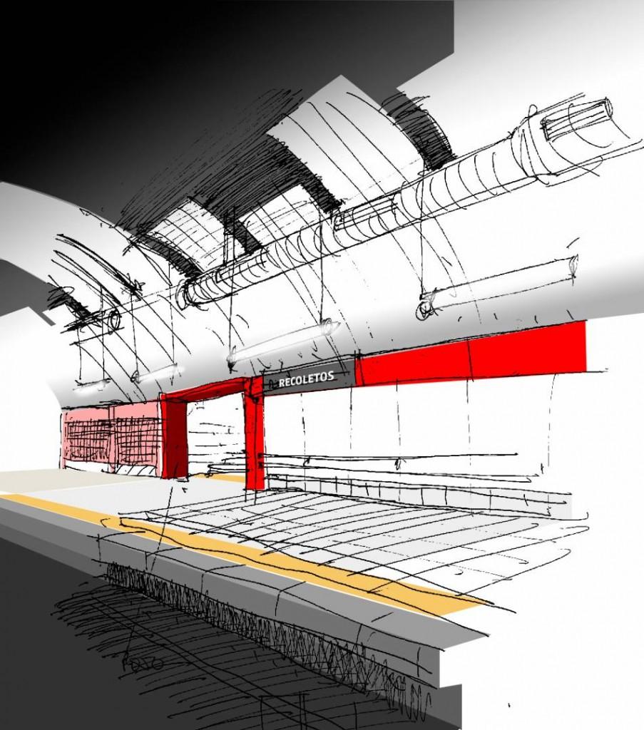 Este será el aspecto que lucirán los andenes de la estación de Recoletos una vez finalizadas las obras. Imagen facilitada por Adif.