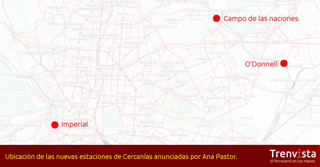Ubicación de las nuevas estaciones de Cercanías Madrid anunciadas por Ana Pastor