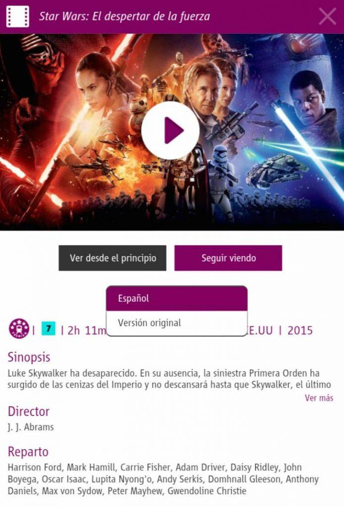 La aplicación permite seleccionar el idioma del vídeo antes de reproducirlo.