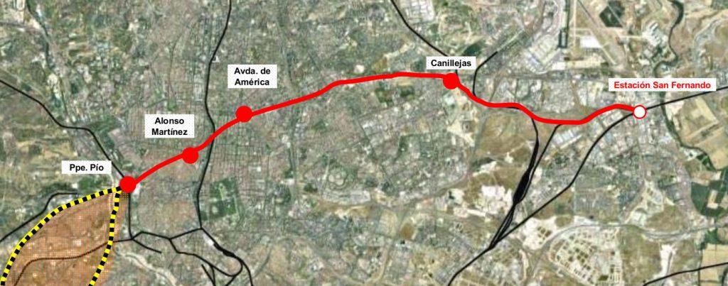 Recorrido de la nueva línea transversal San Fernando - Príncipe Pío tal y como se presentó en el plan de Cercanías 2009-2015.