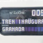 Cartel del 112-022 indicando que hacía el tren inaugural del AVE Madrid-Granada.