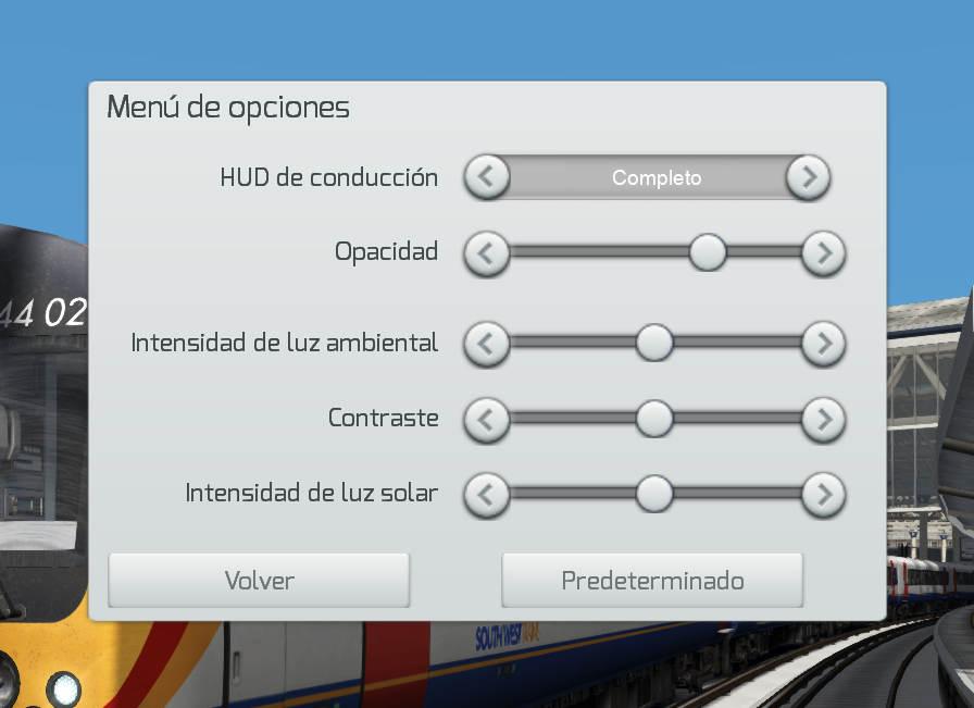 Vista del menú de opciones con las nuevas posibilidades que ofrece Train Simulator 2020.