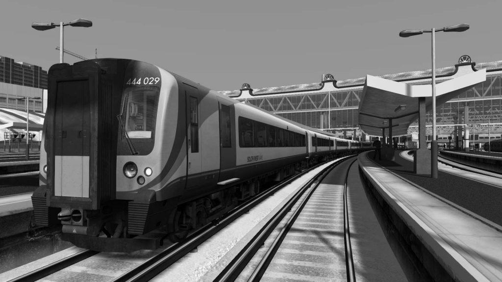La unidad de la serie 444 estacionada en Waterloo con el efecto blanco y negro de Train Simulator 2020.