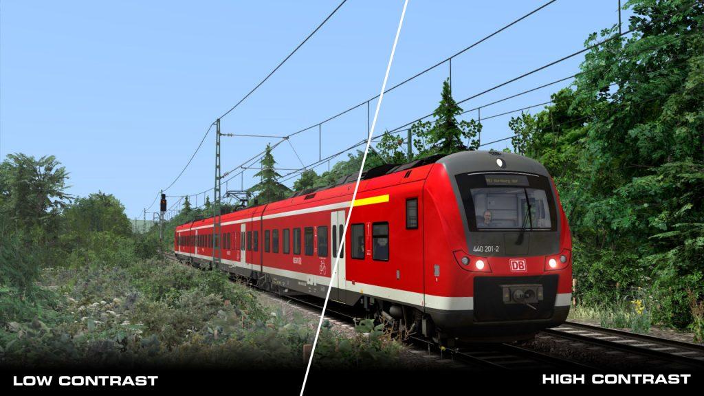 Diferencias entre los tipos de contraste en Train Simulator 2020