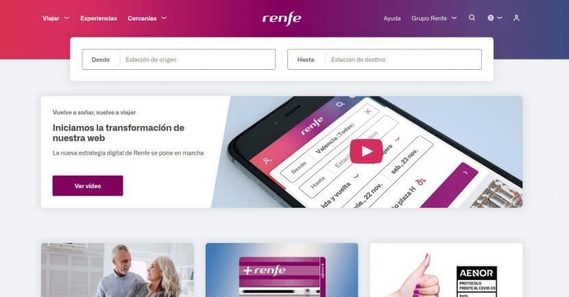 Portada de la nueva web de Renfe