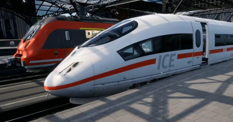Captura de pantalla. de un ICE 3 de Train Sim World 2 estacionado en Colonia.