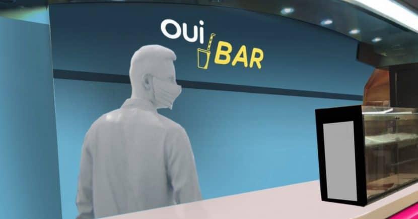 Renderizado del interior del bar del Ouigo, el Ouibar